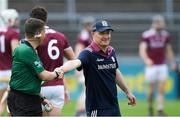 12 May 2019; Galway manager Micheál Donoghue shakes hands with referee Colm Lyons before the Leinster GAA Hurling Senior Championship Round 1 match between Galway and Carlow at Pearse Stadium in Galway. Photo by Piaras Ó Mídheach/Sportsfile