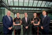 5 June 2019; PwC GAA/GPA Players of the Month for May, Cavan footballer Martin Reilly, second from left, and Cork hurler, Patrick Horgan, second from right, were at PwC offices in Dublin today to pick up their respective awards. The players were joined by PwC Managing Partner, Feargal O'Rourke, centre, Uachtarán Chumann Lúthcleas Gael, John Horan, left, and GPA Chief Executive, Paul Flynn. Photo by Eóin Noonan/Sportsfile
