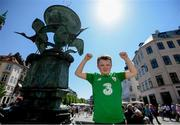 6 June 2019; Republic of Ireland supporter Brian O'Sullivan, age 11, from Kilcummin, Co Kerry, in Copenhagen, Denmark, ahead of their side's UEFA European Championship 2020 Qualifying Round match. Photo by Stephen McCarthy/Sportsfile