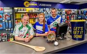 6 June 2019; Collette Dormer, Paulstown/Gorebridge and Kilkenny with Tommy Walsh,left, Tullaroan and Kilkenny and Eamonn Dillon, Naomh Fionnbarra and Dublin, pictured at the announcement that Chadwicks are the new sponsor of the Leinster GAA Chadwicks Club Hurling League were Collette Dormer, Paulstown/Gorebridge and Kilkenny, Tommy Walsh, Tullaroan and Kilkenny and Eamonn Dillon, Naomh Fionnbarra and Dublin at Chadwicks Lucan, Laraghcon, Lucan, Co. Dublin. Chadwicks today launched the Chadwicks Kit-Out competition to celebrate the sponsorship, offering clubs in Leinster the chance to win over €20,000 worth of product to improve their clubhouse facilities. To enter go to chadwicks.ie Photo by Matt Browne/Sportsfile