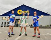 6 June 2019; Tommy Walsh, centre, Tullaroan and Kilkenny with Collette Dormer, Paulstown/Gorebridge and Kilkenny with Eamonn Dillon, Naomh Fionnbarra and Dublin, pictured at the announcement that Chadwicks are the new sponsor of the Leinster GAA Chadwicks Club Hurling League were Collette Dormer, Paulstown/Gorebridge and Kilkenny, Tommy Walsh, Tullaroan and Kilkenny and Eamonn Dillon, Naomh Fionnbarra and Dublin at Chadwicks Lucan, Laraghcon, Lucan, Co. Dublin. Chadwicks today launched the Chadwicks Kit-Out competition to celebrate the sponsorship, offering clubs in Leinster the chance to win over €20,000 worth of product to improve their clubhouse facilities. To enter go to chadwicks.ie Photo by Matt Browne/Sportsfile