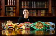 6 June 2019; Undisputed World Lightweight Champion Katie Taylor poses for a portrait after addressing the media at the County Club in Dunshaughlin, Co Meath.  Photo by David Fitzgerald/Sportsfile