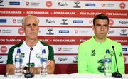 6 June 2019; Republic of Ireland manager Mick McCarthy, left, and Seamus Coleman  during a Republic of Ireland press conference at Telia Parken in Copenhagen, Denmark. Photo by Stephen McCarthy/Sportsfile