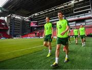 6 June 2019; Seamus Coleman during a Republic of Ireland training session at Telia Parken in Copenhagen, Denmark. Photo by Stephen McCarthy/Sportsfile