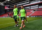 6 June 2019; Sean Maguire and Darren Randolph, left, during a Republic of Ireland training session at Telia Parken in Copenhagen, Denmark. Photo by Stephen McCarthy/Sportsfile