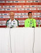 6 June 2019; Republic of Ireland manager Mick McCarthy and captain Seamus Coleman during a press conference at Telia Parken in Copenhagen, Denmark. Photo by Stephen McCarthy/Sportsfile