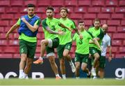 6 June 2019; Sean Maguire, second from left, during a Republic of Ireland training session at Telia Parken in Copenhagen, Denmark. Photo by Stephen McCarthy/Sportsfile