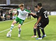 6 June 2019; Connor Ronan of Ireland in action against Erick Germain Aguirre and Ian Jairo Misael Torres of Mexico during the 2019 Maurice Revello Toulon Tournament match between Mexico and Republic of Ireland at Parsemain in Fos-sur-Mer, France. Photo by Alexandre Dimou/Sportsfile
