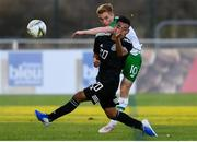 6 June 2019; Connor Ronan of Ireland in action against Ian Jairo Misael Torres of Mexico during the 2019 Maurice Revello Toulon Tournament match between Mexico and Republic of Ireland at Parsemain in Fos-sur-Mer, France. Photo by Alexandre Dimou/Sportsfile