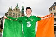 7 June 2019; Republic of Ireland supporter Ciarán McAuley, age 12, from Clonsilla, Dublin, in Copenhagen prior to the UEFA EURO2020 Qualifier Group D match between Denmark and Republic of Ireland at Telia Parken in Copenhagen, Denmark. Photo by Seb Daly/Sportsfile