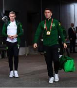 7 June 2019; Republic of Ireland assistant coach Robbie Keane, right, and James McClean of Republic of Ireland arrive prior to the UEFA EURO2020 Qualifier Group D match between Denmark and Republic of Ireland at Telia Parken in Copenhagen, Denmark. Photo by Stephen McCarthy/Sportsfile