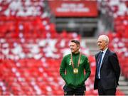 7 June 2019; Republic of Ireland manager Mick McCarthy, right, and assistant coach Robbie Keane prior to the UEFA EURO2020 Qualifier Group D match between Denmark and Republic of Ireland at Telia Parken in Copenhagen, Denmark. Photo by Seb Daly/Sportsfile