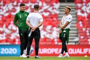 7 June 2019; Republic of Ireland players, from left, John Egan, Scott Hogan, and Callum Robinson prior to the UEFA EURO2020 Qualifier Group D match between Denmark and Republic of Ireland at Telia Parken in Copenhagen, Denmark. Photo by Seb Daly/Sportsfile