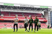 7 June 2019; Republic of Ireland players, from left, James Talbot, Callum Robinson, Seán Maguire and Josh Cullen prior to the UEFA EURO2020 Qualifier Group D match between Denmark and Republic of Ireland at Telia Parken in Copenhagen, Denmark. Photo by Seb Daly/Sportsfile