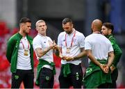 7 June 2019; James McClean of Republic of Ireland, second left, with team-mates, prior to the UEFA EURO2020 Qualifier Group D match between Denmark and Republic of Ireland at Telia Parken in Copenhagen, Denmark. Photo by Seb Daly/Sportsfile