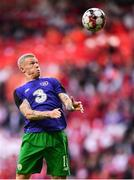 7 June 2019; James McClean of Republic of Ireland warms-up prior to the UEFA EURO2020 Qualifier Group D match between Denmark and Republic of Ireland at Telia Parken in Copenhagen, Denmark. Photo by Stephen McCarthy/Sportsfile