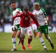 7 June 2019; Conor Hourihane, left, and James McClean of Republic of Ireland in action against Lasse Schöne of Denmark during the UEFA EURO2020 Qualifier Group D match between Denmark and Republic of Ireland at Telia Parken in Copenhagen, Denmark. Photo by Stephen McCarthy/Sportsfile
