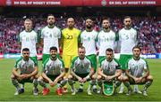 7 June 2019; The Republic of Ireland squad, back row, from left, James McClean, Shane Duffy, Darren Randolph, David McGoldrick, Conor Hourihane and Richard Keogh. Front row, from left, Enda Stevens, Robbie Brady, Glenn Whelan, Seamus Coleman and Jeff Hendrick prior to the UEFA EURO2020 Qualifier Group D match between Denmark and Republic of Ireland at Telia Parken in Copenhagen, Denmark. Photo by Stephen McCarthy/Sportsfile