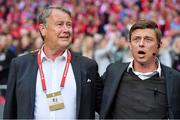 7 June 2019; Denmark manager Åge Hareide, left, and Denmark assistant manager Jon Dahl Tomasson during the UEFA EURO2020 Qualifier Group D match between Denmark and Republic of Ireland at Telia Parken in Copenhagen, Denmark. Photo by Seb Daly/Sportsfile