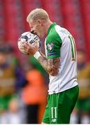 7 June 2019; James McClean of Republic of Ireland reacts during the UEFA EURO2020 Qualifier Group D match between Denmark and Republic of Ireland at Telia Parken in Copenhagen, Denmark. Photo by Stephen McCarthy/Sportsfile