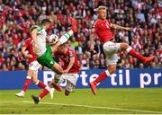 7 June 2019; Shane Duffy of Republic of Ireland has a shot on goal despite the attention of Denmark players, from left, Jens Stryger Larsen, Henrik Dalsgaard and Simon Kjær during the UEFA EURO2020 Qualifier Group D match between Denmark and Republic of Ireland at Telia Parken in Copenhagen, Denmark. Photo by Stephen McCarthy/Sportsfile