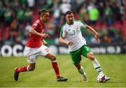 7 June 2019; Enda Stevens of Republic of Ireland in action against Yussuf Poulsen of Denmark during the UEFA EURO2020 Qualifier Group D match between Denmark and Republic of Ireland at Telia Parken in Copenhagen, Denmark. Photo by Stephen McCarthy/Sportsfile