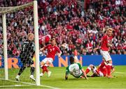 7 June 2019; Shane Duffy of Republic of Ireland has a shot on goal during the UEFA EURO2020 Qualifier Group D match between Denmark and Republic of Ireland at Telia Parken in Copenhagen, Denmark. Photo by Stephen McCarthy/Sportsfile