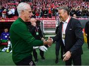 7 June 2019; Republic of Ireland manager Mick McCarthy, left, and Denmark manager Åge Hareide shake hands prior to the UEFA EURO2020 Qualifier Group D match between Denmark and Republic of Ireland at Telia Parken in Copenhagen, Denmark. Photo by Stephen McCarthy/Sportsfile