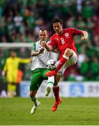 7 June 2019; Glenn Whelan of Republic of Ireland in action against Thomas Delaney of Denmark during the UEFA EURO2020 Qualifier Group D match between Denmark and Republic of Ireland at Telia Parken in Copenhagen, Denmark. Photo by Seb Daly/Sportsfile
