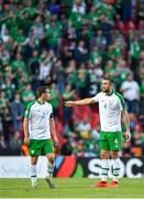 7 June 2019; Seamus Coleman and Shane Duffy of Republic of Ireland during the UEFA EURO2020 Qualifier Group D match between Denmark and Republic of Ireland at Telia Parken in Copenhagen, Denmark. Photo by Seb Daly/Sportsfile