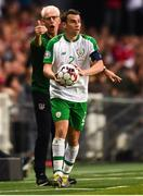 7 June 2019; Seamus Coleman of Republic of Ireland, right, and Republic of Ireland manager Mick McCarthy during the UEFA EURO2020 Qualifier Group D match between Denmark and Republic of Ireland at Telia Parken in Copenhagen, Denmark. Photo by Stephen McCarthy/Sportsfile