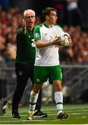 7 June 2019; Republic of Ireland manager Mick McCarthy, left, and Seamus Coleman during the UEFA EURO2020 Qualifier Group D match between Denmark and Republic of Ireland at Telia Parken in Copenhagen, Denmark. Photo by Stephen McCarthy/Sportsfile