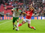 7 June 2019; Seamus Coleman of Republic of Ireland in action against Martin Braithwaite of Denmark during the UEFA EURO2020 Qualifier Group D match between Denmark and Republic of Ireland at Telia Parken in Copenhagen, Denmark. Photo by Seb Daly/Sportsfile