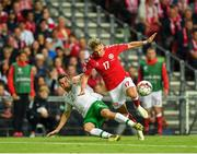 7 June 2019; Seamus Coleman of Republic of Ireland in action against Jens Stryger Larsen of Denmark during the UEFA EURO2020 Qualifier Group D match between Denmark and Republic of Ireland at Telia Parken in Copenhagen, Denmark. Photo by Seb Daly/Sportsfile
