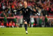 7 June 2019; Kasper Schmeichel of Denmark celebrates following his side's first goal during the UEFA EURO2020 Qualifier Group D match between Denmark and Republic of Ireland at Telia Parken in Copenhagen, Denmark. Photo by Seb Daly/Sportsfile