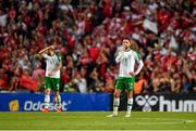 7 June 2019; Conor Hourihane of Republic of Ireland reacts after his side concedes a goal during the UEFA EURO2020 Qualifier Group D match between Denmark and Republic of Ireland at Telia Parken in Copenhagen, Denmark. Photo by Seb Daly/Sportsfile