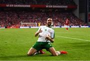 7 June 2019; Shane Duffy of Republic of Ireland celebrates after scoring his side's first goal during the UEFA EURO2020 Qualifier Group D match between Denmark and Republic of Ireland at Telia Parken in Copenhagen, Denmark. Photo by Stephen McCarthy/Sportsfile