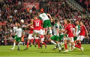 7 June 2019; Shane Duffy of Republic of Ireland heads to score his side's first goal during the UEFA EURO2020 Qualifier Group D match between Denmark and Republic of Ireland at Telia Parken in Copenhagen, Denmark. Photo by Seb Daly/Sportsfile