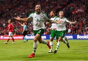 7 June 2019; Shane Duffy of Republic of Ireland celebrates after scoring his side's first goal, with team-mates James McClean, right, and Richard Keogh, during the UEFA EURO2020 Qualifier Group D match between Denmark and Republic of Ireland at Telia Parken in Copenhagen, Denmark. Photo by Stephen McCarthy/Sportsfile