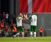 7 June 2019; Enda Stevens and Glenn Whelan of Republic of Ireland following their side's first goal during the UEFA EURO2020 Qualifier Group D match between Denmark and Republic of Ireland at Telia Parken in Copenhagen, Denmark. Photo by Seb Daly/Sportsfile