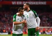 7 June 2019; Seamus Coleman, left, and Richard Keogh of Republic of Ireland following the UEFA EURO2020 Qualifier Group D match between Denmark and Republic of Ireland at Telia Parken in Copenhagen, Denmark. Photo by Stephen McCarthy/Sportsfile