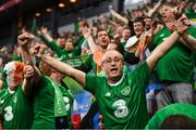 7 June 2019; Republic of Ireland supporters celebrate following the UEFA EURO2020 Qualifier Group D match between Denmark and Republic of Ireland at Telia Parken in Copenhagen, Denmark. Photo by Stephen McCarthy/Sportsfile