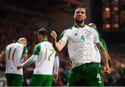 7 June 2019; Shane Duffy of Republic of Ireland celebrates after scoring his side's goal during the UEFA EURO2020 Qualifier Group D match between Denmark and Republic of Ireland at Telia Parken in Copenhagen, Denmark. Photo by Stephen McCarthy/Sportsfile