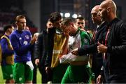 7 June 2019; Alan Judge of Republic of Ireland leaves the pitch after picking up an injury following the UEFA EURO2020 Qualifier Group D match between Denmark and Republic of Ireland at Telia Parken in Copenhagen, Denmark. Photo by Stephen McCarthy/Sportsfile