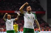7 June 2019; Shane Duffy, right, and Glenn Whelan of Republic of Ireland celebrate following the UEFA EURO2020 Qualifier Group D match between Denmark and Republic of Ireland at Telia Parken in Copenhagen, Denmark. Photo by Stephen McCarthy/Sportsfile
