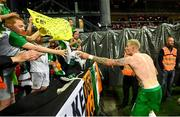 7 June 2019; Sean Cox, from Kilcummin, Kerry, receives the jersey belong to James McClean of Republic of Ireland following the UEFA EURO2020 Qualifier Group D match between Denmark and Republic of Ireland at Telia Parken in Copenhagen, Denmark. Photo by Stephen McCarthy/Sportsfile