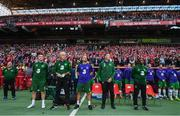 7 June 2019; Republic of Ireland manager Mick McCarthy, second from left, with assistant coach Robbie Keane, fitness coach Andy Liddle, goalkeeping coach Alan Kelly and assistant coach Terry Connor during the UEFA EURO2020 Qualifier Group D match between Denmark and Republic of Ireland at Telia Parken in Copenhagen, Denmark. Photo by Stephen McCarthy/Sportsfile
