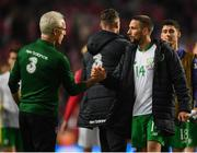 7 June 2019; Conor Hourihane and Republic of Ireland manager Mick McCarthy following the UEFA EURO2020 Qualifier Group D match between Denmark and Republic of Ireland at Telia Parken in Copenhagen, Denmark. Photo by Stephen McCarthy/Sportsfile