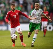 7 June 2019; Lasse Schöne of Denmark and James McClean of Republic of Ireland during the UEFA EURO2020 Qualifier Group D match between Denmark and Republic of Ireland at Telia Parken in Copenhagen, Denmark. Photo by Stephen McCarthy/Sportsfile