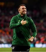7 June 2019; Republic of Ireland assistant coach Robbie Keane celebrates following the UEFA EURO2020 Qualifier Group D match between Denmark and Republic of Ireland at Telia Parken in Copenhagen, Denmark. Photo by Stephen McCarthy/Sportsfile